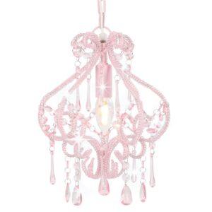 Candeeiro de teto com contas redondo E14 cor-de-rosa - PORTES GRÁTIS