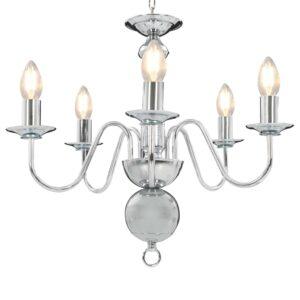 Lustre de 5 lâmpadas E14 prateado - PORTES GRÁTIS
