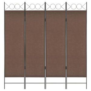 Divisória de quarto com 4 painéis 160x180 cm castanho - PORTES GRÁTIS
