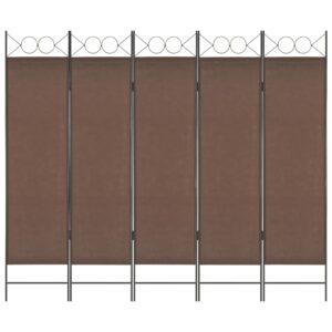 Divisória de quarto com 5 painéis 200x180 cm castanho - PORTES GRÁTIS