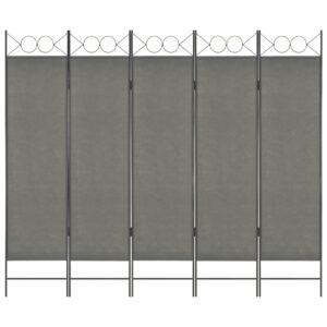 Divisória de quarto com 5 painéis 200x180 cm antracite - PORTES GRÁTIS