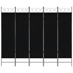 Divisória de quarto com 5 painéis 200x180 cm preto - PORTES GRÁTIS