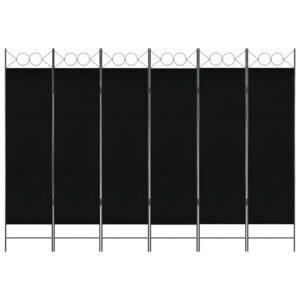 Divisória de quarto com 6 painéis 240x180 cm preto - PORTES GRÁTIS