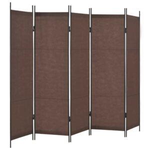 Divisão de quarto com 5 painéis 250x180 cm castanho - PORTES GRÁTIS
