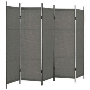 Divisória de quarto com 5 painéis 250x180 cm antracite - PORTES GRÁTIS