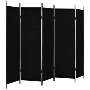 Divisão de quarto com 5 painéis 250x180 cm preto - PORTES GRÁTIS