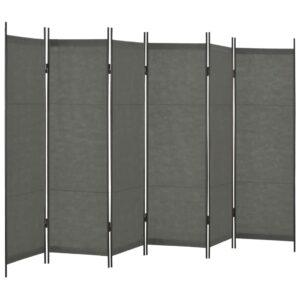 Divisória de quarto com 6 painéis 300x180 cm antracite - PORTES GRÁTIS