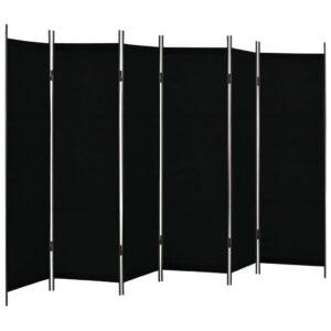 Divisória de quarto com 6 painéis 300x180 cm preto - PORTES GRÁTIS