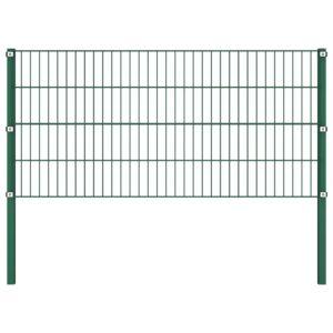Painel de vedação com postes ferro 1,7x0,8 m verde - PORTES GRÁTIS