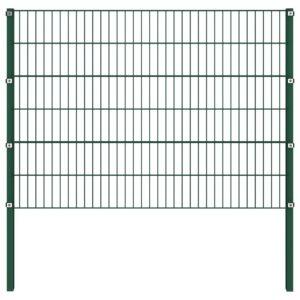 Painel de vedação com postes ferro 1,7x1,2 m verde - PORTES GRÁTIS
