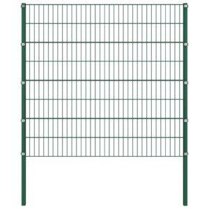 Painel de vedação com postes ferro 1,7x1,6 m verde - PORTES GRÁTIS
