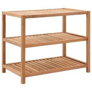 Prateleira de casa de banho madeira nogueira maciça 65x40x55 cm - PORTES GRÁTIS