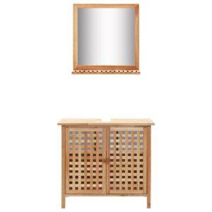 Armário para lavatório com espelho madeira de nogueira maciça  - PORTES GRÁTIS