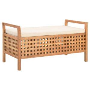 Banco de arrumação 93x49x49 cm madeira de nogueira maciça - PORTES GRÁTIS