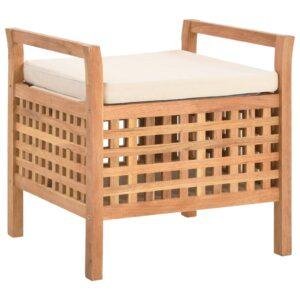 Banco de arrumação 49x48x49 cm madeira de nogueira maciça  - PORTES GRÁTIS
