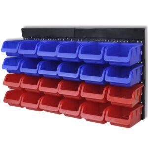 Organizador ferramentas montado na parede, 2 pçs, vermelho & azul - PORTES GRÁTIS