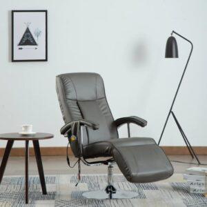 Cadeira de massagens couro artificial cinzento - PORTES GRÁTIS