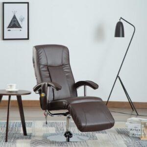 Cadeira de massagens couro artificial castanho - PORTES GRÁTIS