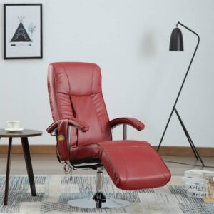 Cadeira de massagens couro artificial vermelho tinto - PORTES GRÁTIS