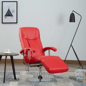Cadeira de massagens couro artificial vermelho - PORTES GRÁTIS