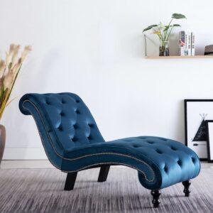 Chaise longue em veludo azul - PORTES GRÁTIS