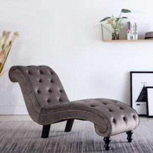 Chaise longue em veludo cinzento - PORTES GRÁTIS