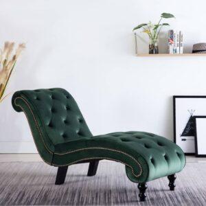 Chaise longue em veludo verde - PORTES GRÁTIS