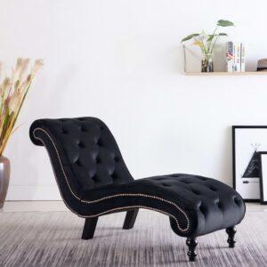 Chaise longue em veludo preto - PORTES GRÁTIS