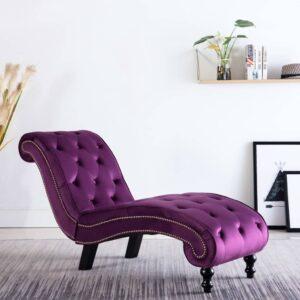 Chaise longue em veludo roxo - PORTES GRÁTIS