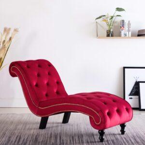 Chaise longue em veludo vermelho - PORTES GRÁTIS