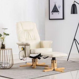 Cadeira massagens reclinável + apoio pés couro artificial creme - PORTES GRÁTIS