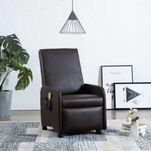 Cadeira massagens reclinável elétrica couro artificial castanho - PORTES GRÁTIS