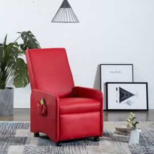 Cadeira massagens reclinável elétrica couro artificial vermelho - PORTES GRÁTIS