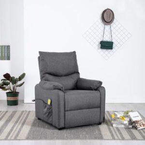 Cadeira de massagens para TV reclinável tecido cinzento-escuro - PORTES GRÁTIS