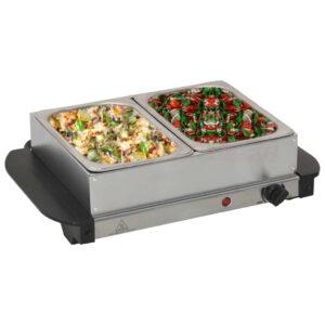 Buffet quente 200 W 2x1,5 L aço inoxidável - PORTES GRÁTIS