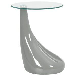 Mesa de centro com tampo de vidro redondo cinzento brilhante - PORTES GRÁTIS