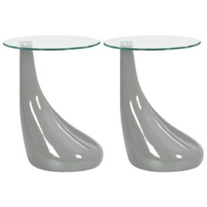 Mesas centro c/ tampo de vidro redondo 2 pcs cinzento brilhante - PORTES GRÁTIS