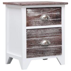 Mesa-de-cabeceira 38x28x45 cm madeira paulownia castanho/branco - PORTES GRÁTIS