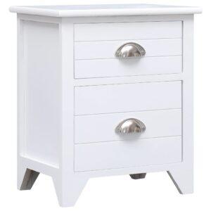Mesa-de-cabeceira 38x28x45 cm madeira paulownia branco - PORTES GRÁTIS