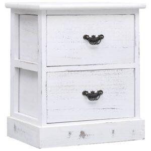 Mesa de cabeceira 38x28x45 cm madeira de paulownia branco - PORTES GRÁTIS
