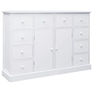 Aparador com 10 gavetas 113x30x79 cm madeira branco - PORTES GRÁTIS