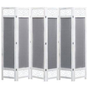 Biombo com 6 painéis 210x165 cm tecido cinzento - PORTES GRÁTIS
