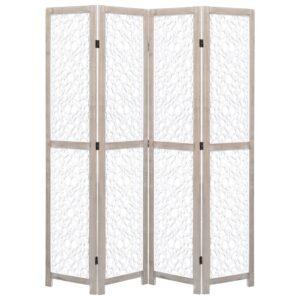 Biombo com 4 painéis 140x165 cm madeira maciça branco - PORTES GRÁTIS