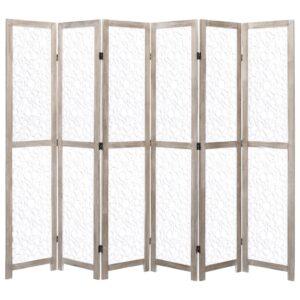 Biombo com 6 painéis 210x165 cm madeira maciça branco - PORTES GRÁTIS