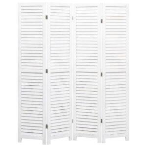 Biombo com 4 painéis 140x165 cm madeira branco - PORTES GRÁTIS