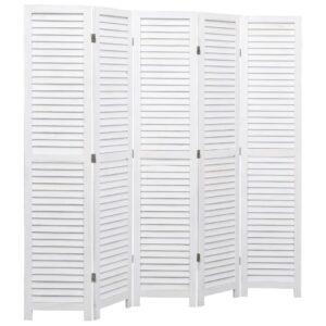 Biombo com 5 painéis 175x165 cm madeira branco - PORTES GRÁTIS