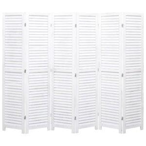Biombo com 6 painéis 210x165 cm madeira branco - PORTES GRÁTIS