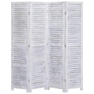 Biombo com 4 painéis 140x165 cm madeira cinzento - PORTES GRÁTIS