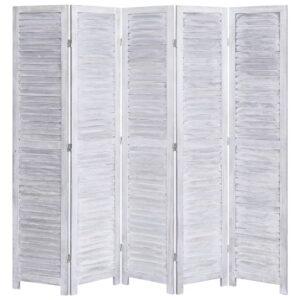 Biombo com 5 painéis 175x165 cm madeira cinzento - PORTES GRÁTIS
