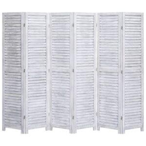 Biombo com 6 painéis 210x165 cm madeira cinzento - PORTES GRÁTIS